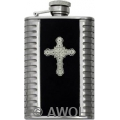 3.5 oz 'Gothic Celtic Cross' Black Bonded Leather Metal Ribs Flask