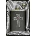 8oz 'Intricate Celtic Cross' Black Genuine Leather Flask & Funnel Gift Set