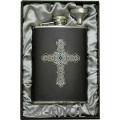 8oz 'Gothic Celtic Cross' Black Genuine Leather Flask & Funnel Gift Set