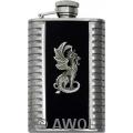3.5oz 'Little Dragon' Black Bonded Leather Metal Ribs Boot Flask