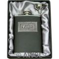 8oz Celtic 'Father' Black Genuine Leather Flask & Funnel Gift Set