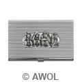 'Four Monkeys' Chrome Ribbed Business Card Case