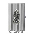 """Little Dragon"" Chrome Ribbed Business Card Case"