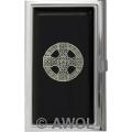 """Celtic Cross Shield"" Black Epoxy Business Card Case"