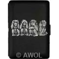 """Four Monkeys"" Ultra Slim King Black Matte Card Case"