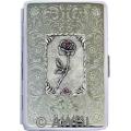 100mm 'Rose Panel' Florentine Chrome Cigarette Case