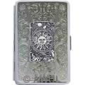 100mm 'Zodiac Sun' Panel Florentine Chrome Cigarette Case