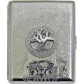 'Celtic Tree of Life' Wide 100mm Florentine Chrome Cigarette Case / Stash Box