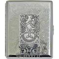 'Celtic Lovers' Wide 100mm Florentine Chrome Cigarette Case / Stash Box