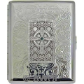 'Gothic Celtic Cross' Wide 100mm Florentine Chrome Cigarette Case / Stash Box