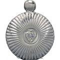 5oz 'Double Hearts' Round Chrome Flare Flask