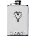 3.5oz 'Wild Heart' White Genuine Leather Flask