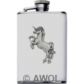 3.5oz 'Rearing Unicorn' White Genuine Leather Flask