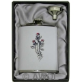 6oz 'Three Roses' White Genuine Leather Flask & Funnel Gift Set