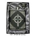 6oz 'Celtic Cross' Black Genuine Leather Flask & Funnel Gift Set