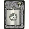 8oz 'Celtic Tree of Life' Heavy Gauge Premium Satin Flask & Funnel Gift Set