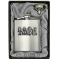 8oz 'Four Monkeys' Heavy Gauge Premium Satin Finish Flask & Funnel Gift Set