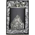 8oz 'Flaming Skulls' Black Genuine Leather Flask & Funnel Gift Set