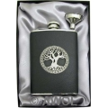8oz 'Celtic Tree of Life' Black Top Grain Leather Flask & Funnel Gift Set