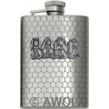 3.5oz 'Four Monkey' Honeycomb Chrome Boot Flask