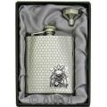 8oz 'Feel Lucky Skull' Heavy Gauge Honeycomb Chrome Flask & Funnel Gift Box