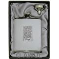 6oz 'Celtic Zodiac Virgo' White Leather Flask & Funnel Gift Set