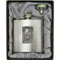 8oz 'Wolf in the Woods' Heavy Gauge Premium Satin Flask & Funnel Gift Set