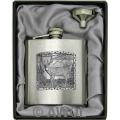 6oz 'Deer Panel' Heavy Gauge Premium Satin Flask & Funnel Gift Set