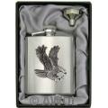8oz 'Flying Eagle' Heavy Gauge Premium Satin Flask & Funnel Gift Set