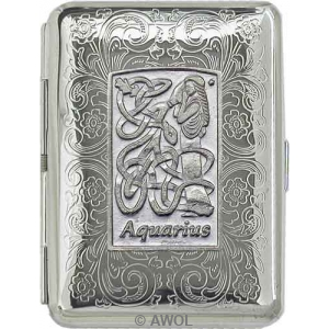 Slim King 'Celtic Zodiac Aquarius' Florentine Chrome Pocket Case