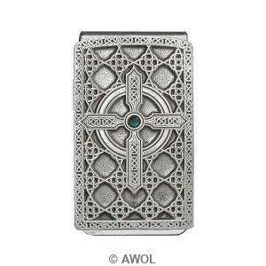 """Celtic Cross Circle"" Pewter Panel Silver Tone Money Clip"