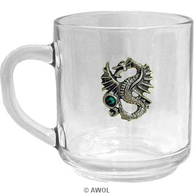 Nicks Dragon 10oz Full Tempered Clear Gl Coffee Mug Microwave Safe Made In Usa